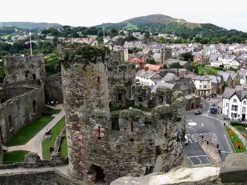 Conwy Castle and the traffic circle it guards.