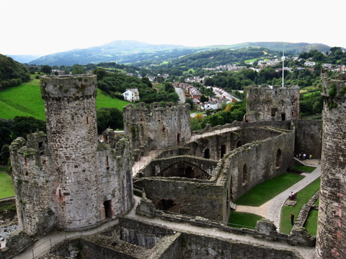 Conwy Castle and the valley beyond.