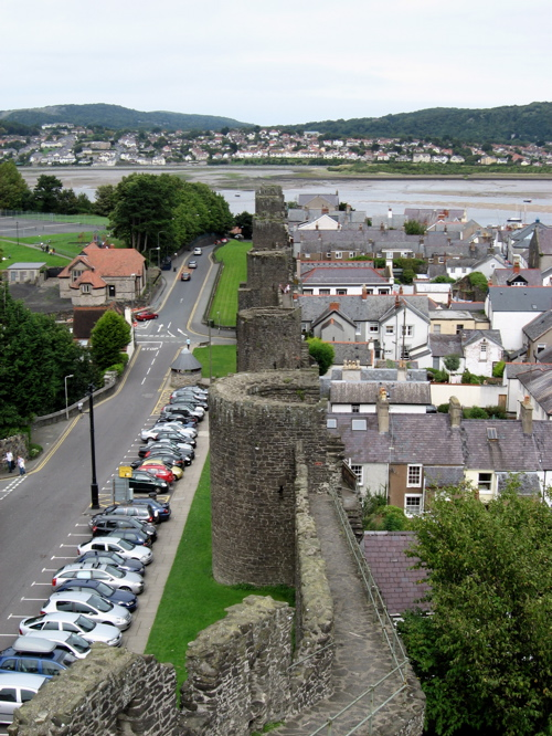The medieval town walls of Conwy (with parking).